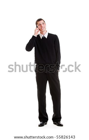 portrait of businessman with mobile phone. isolated on white background - stock photo