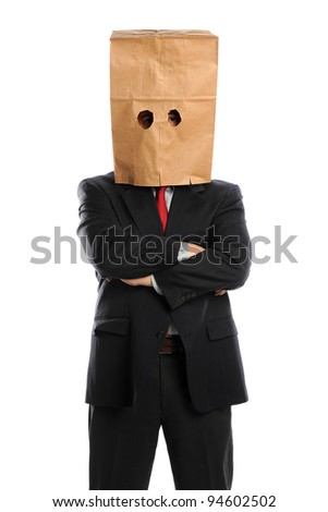 Portrait of businessman with paper bag over head isolated over white background - stock photo