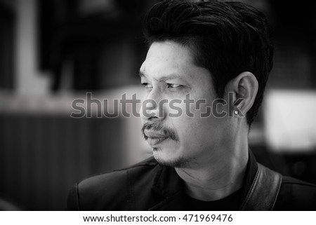 Portrait Of Businessman ,Young Handsome Man, Casual,Black and white