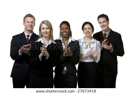 Portrait of businesspeople clapping