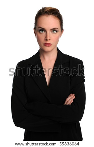 Portrait of businesswoman with arms crossed isolated over white background - stock photo