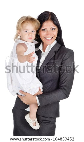 Portrait of businesswoman with her child. Isolated on the white background - stock photo