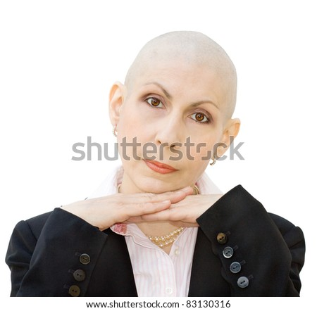 Portrait of cancer patient undergoing chemotherapy and loss of hair. Real woman, diagnosed with breast cancer and ovarian cancer. Isolated over white background. - stock photo