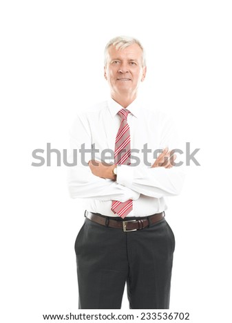 Portrait of casual businessman standing against white background.