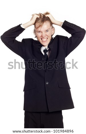 Portrait of caucasian businessman expressing frustration - stock photo