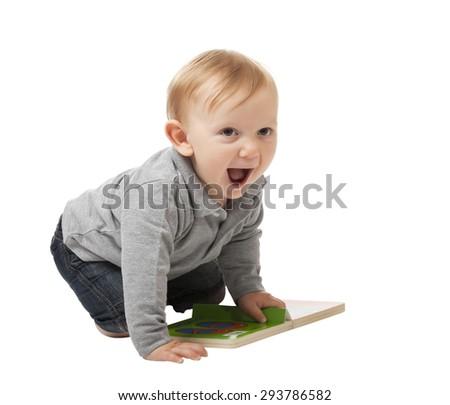 portrait of caucasian child isolated on white background - stock photo