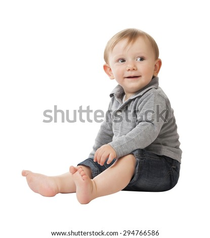 portrait of caucasian child isolated on white background