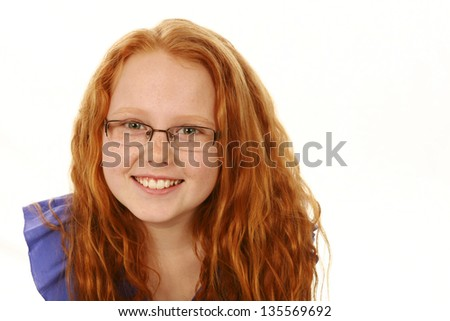 portrait of caucasian girl with glasses isolated on white