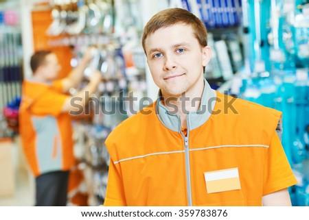 portrait of caucasian hardware store salesman - stock photo