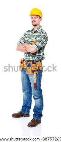 portrait of caucasian manual worker on white - stock photo