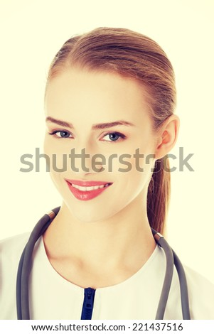 Portrait of caucasian nurse, doctor woman. Isolated onw hite. - stock photo