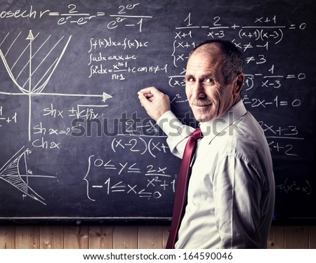 portrait of caucasian senior teacher - stock photo