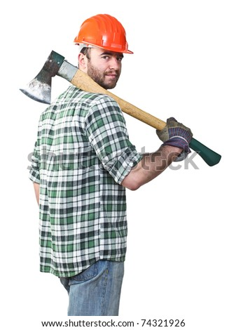 portrait of caucasian standing young worker with axe