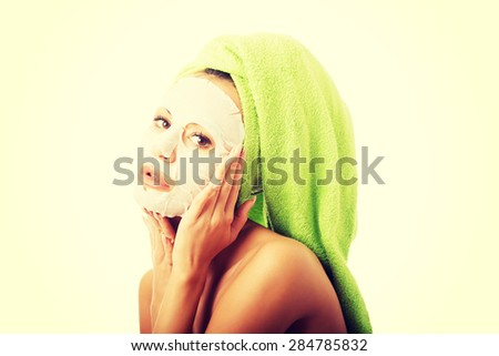 Portrait of caucasian woman with face mask. - stock photo