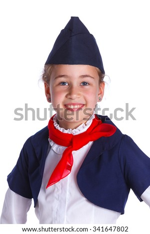 Portrait of Charming Little Stewardess Dressed In Blue Uniform. Isolated On White Background - stock photo