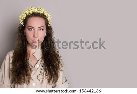 portrait of charming woman - stock photo