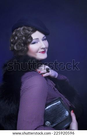 Portrait of charming woman in elegant retro image. - stock photo
