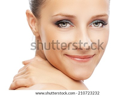 Portrait of charming woman with bared shoulders, on white background. - stock photo