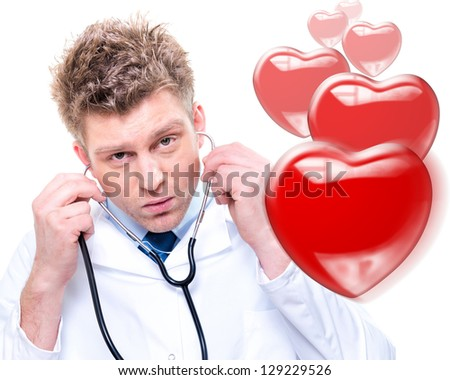 Portrait of cheerful doctor listening with a stethoscope. Isolated - stock photo