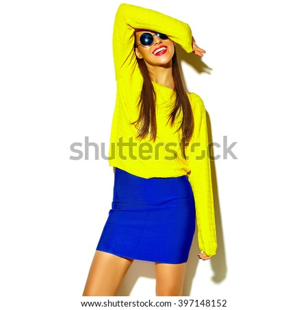 portrait of cheerful fashion hipster girl going crazy in casual colorful hipster yellow summer clothes with red lips isolated on white - stock photo