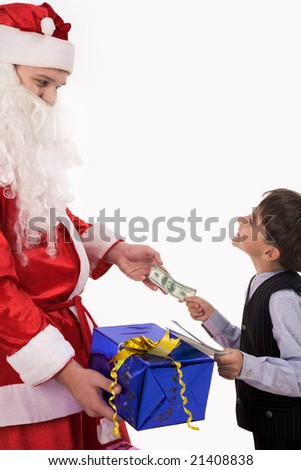 Portrait of cheerful guy spending his money on Christmas gifts and paying for one to Santa - stock photo