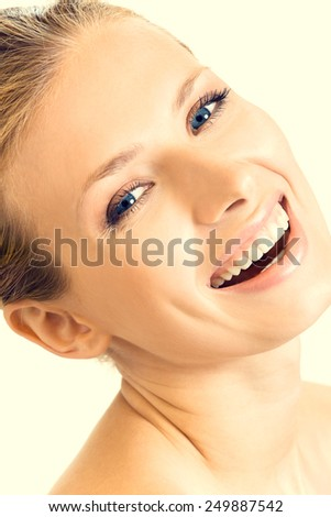 Portrait of cheerful smiling woman - stock photo