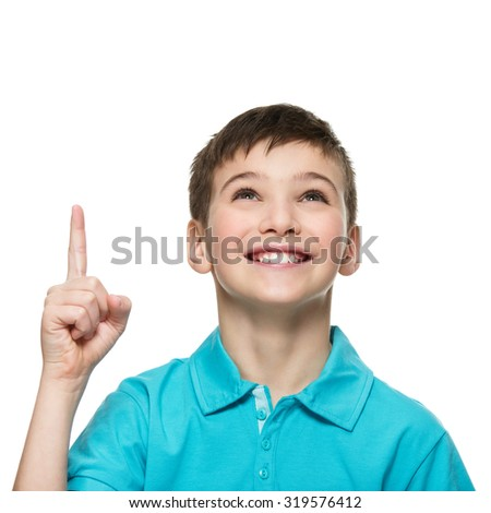 Portrait of cheerful teen boy with good idea -  isolated over white background