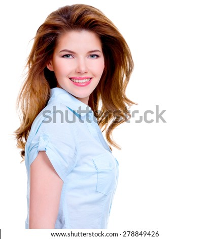 Portrait of cheerful young smiling woman in blue shirt  isolated on white background.