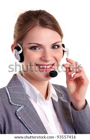 Portrait of cheerful young woman with headset answering call