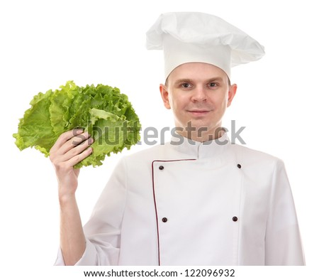 portrait of chef with lettuce isolated on white