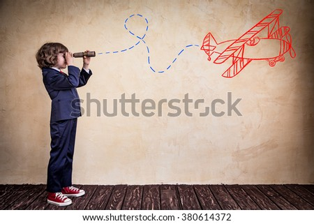 Portrait of child businessman in office. Success, creative and innovation business concept - stock photo