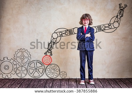 Portrait of child businessman in office. Success, creative and innovation business concept