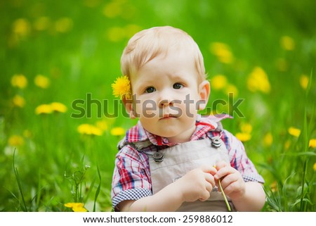Portrait of child in spring field. Sweet little boy is sitting in green grass among yellow  dandelions. Head and shoulders portrait of two years old cute boy - stock photo