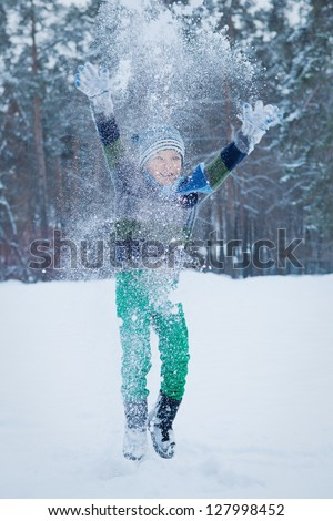 Portrait of child with skates, winter - stock photo