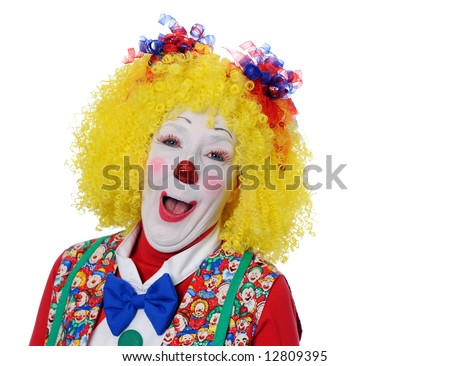 Portrait of clown laughing - stock photo