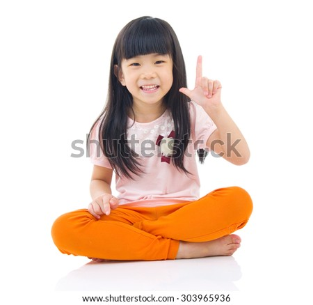 Portrait of confident asian girl isolated on white background. - stock photo