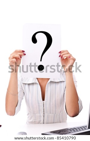 Portrait of confident business woman with question mark sign on white background - stock photo
