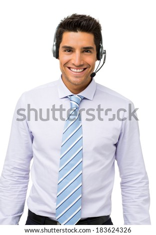 Portrait of confident customer service representative standing isolated over white background. Vertical shot. - stock photo