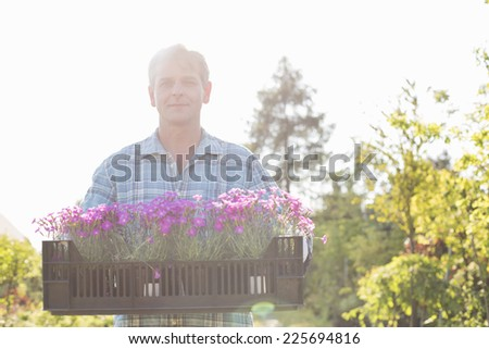 Portrait of confident man carrying crate with flower pots in garden - stock photo