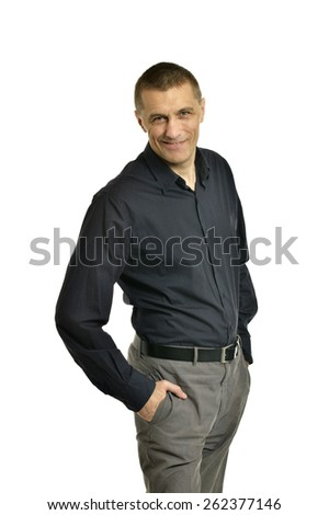 Portrait of Confident man posing on a white background - stock photo