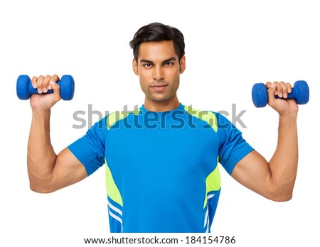 Portrait of confident young man lifting weights over white background. Horizontal shot. - stock photo