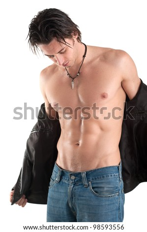 Portrait of confident young man shirtless against white background.