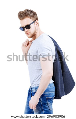 Portrait of confident young man wearing jeans and jacket. Men's beauty, fashion. Isolated over white. - stock photo