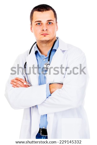 Portrait of confident young medical doctor on white background - stock photo