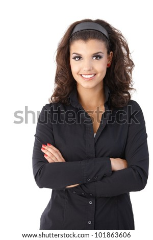 Portrait of confident young pretty female, looking at camera. - stock photo