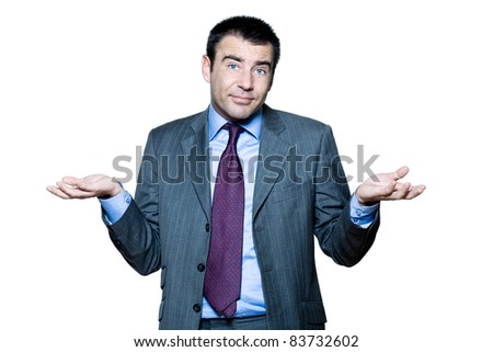 Portrait of confused mature man gesturing in studio on isolated white background - stock photo