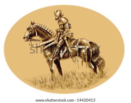 Portrait of conquistador Hernan Cortez and his horse 'El Morzillo' - stock photo
