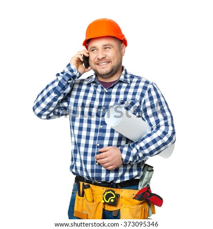 Portrait of construction builder isolated on white background. - stock photo