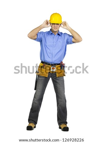 Portrait of construction worker smiling isolated on white background