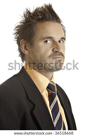 Portrait of contemplative businessman - stock photo